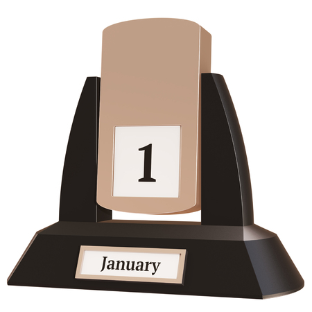 3D rendering of a vintage flip calendar showing the date of January 1, on white background.