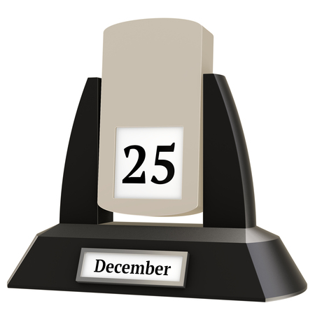 3D rendering of a vintage flip calendar showing the date of December 25, on white background. 스톡 콘텐츠