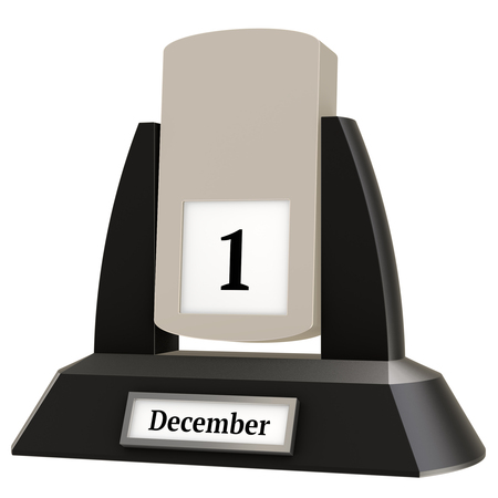 3D rendering of a vintage flip calendar showing the date of December 1, on white background.