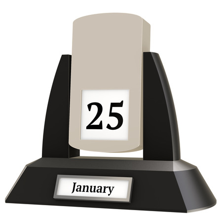 3D rendering of a vintage flip calendar showing the date of January 25, on white background.