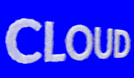 3D rendering of a volume forming the Cloud text written in capital letters, on blue background