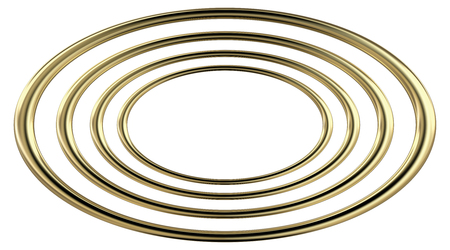 3D rendering of four concentric reflective golden ellipses, on white background.