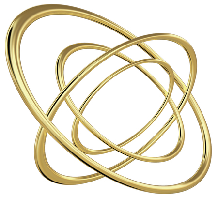 3D rendering of four concentric golden reflective ellipses rotated relatively to each other, on white background.