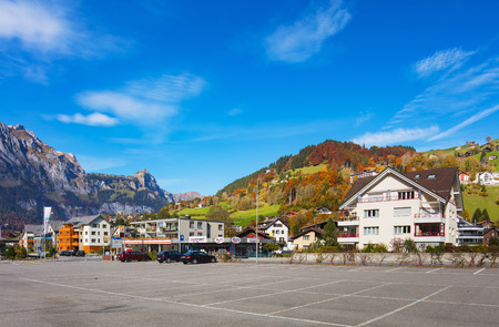 Engelberg, Switzerland - October 12, 2015: view of the town of Engelberg at the middle of October. Engelberg is a resort town in the Swiss canton of Obwalden.