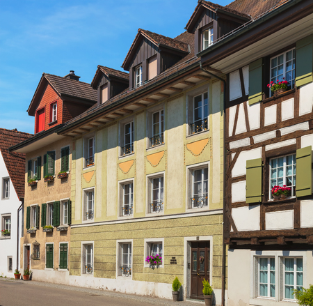 Bremgarten, Switzerland - June 16, 2018: buildings of the historic part of the town of Bremgarten. Bremgarten is a municipality in the Swiss canton of Aargau, its medieval old town is listed as a heritage site of national significance. Editorial