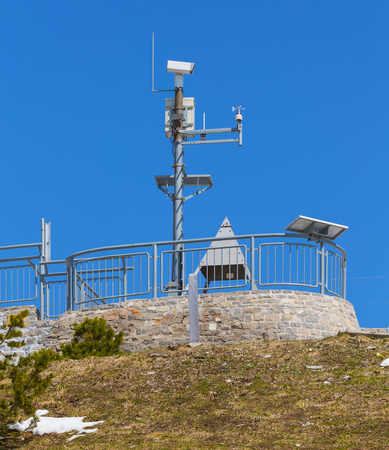 Meteorological instruments on the top of Mt. Stanserhorn in the Swiss canton of Nidwalden.