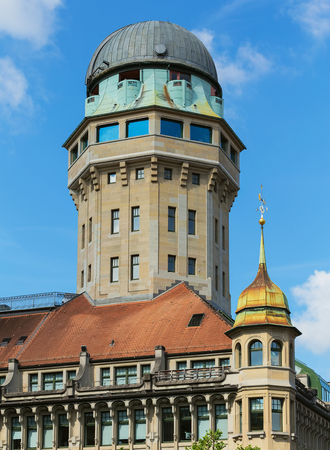 Zurich, Switzerland - August 1, 2016: tower of the Urania Sternwarte observatory. Urania Sternwarte is a public observatory in the Lindenhof quarter of the city Zurich, Urania in its name refers to the muse of astronomy in Greek mythology.
