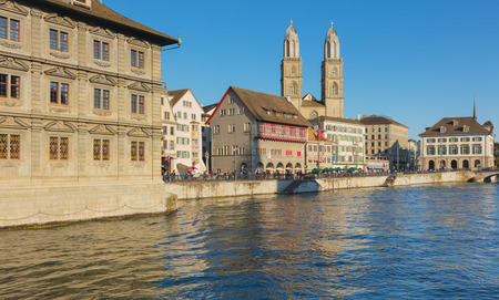 Zurich, Switzerland - May 11, 2018: buildings of the historic part of the city of Zurich along the Limmat river. Zurich is the largest city in Switzerland and the capital of the Swiss canton of Zurich.