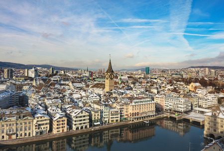 Zurich, Switzerland - January 18, 2016: the city of Zurich in Switzerland as seen from the tower of the Grossmunster cathedral. Zurich is the largest city in Switzerland and the capital of the Swiss canton of Zurich. Sajtókép