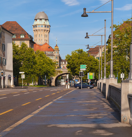 Zurich, Switzerland - August 14, 2011: view from the Rudolf Brun bridge towards Uraniastrasse street in the morning. Zurich is the largest city in Switzerland and the capital of the Swiss canton of Zurich. Sajtókép