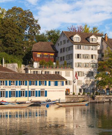 Zurich, Switzerland - August 14, 2011: buildings of the historic Schipfe quarter in the city of Zurich. The Schipfe quarter is one of the oldest parts of the city of Zurich, which is the largest city in Switzerland and the capital of the Swiss canton of Z Sajtókép