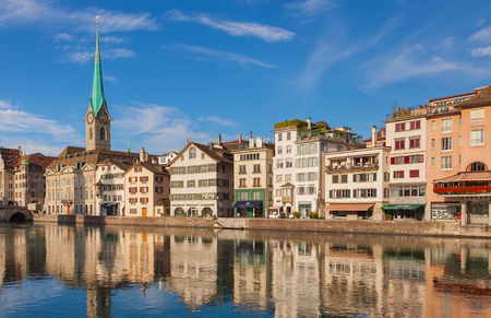 Zurich, Switzerland - August 14, 2011: buildings of the historic part of the city of Zurich along the Limmat river. Zurich is the largest city in Switzerland and the capital of the Swiss canton of Zurich.