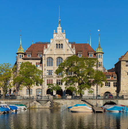 Zurich, Switzerland - June 2, 2019: the Zurich City Hall building. The Zurich City Hall was built by architect Gustav Gull in two stages from 1883 to 1884 and from 1898 to 1900 and is now a significant architectural landmark. It houses some of the citys