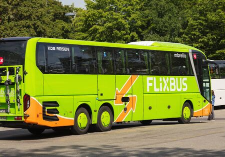 Zurich, Switzerland - May 27, 2019: a Flixbus bus at a bus station in the city of Zurich. The Flixbus is a German brand which offers intercity coach services in various European countries and in the USA.
