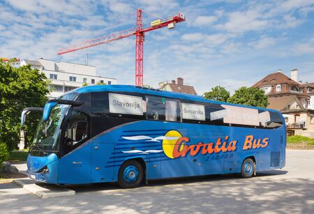 Zurich, Switzerland - May 27, 2019: a coach bus from Croatia at a bus station in the city of Zurich. The city of Zurich is the largest city in Switzerland and a popular tourist destination.