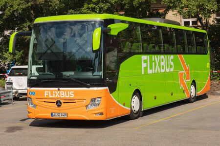 Zurich, Switzerland - May 27, 2019: a Flixbus bus at a bus station in the city of Zurich. The Flixbus is a German brand offering intercity coach services in various European countries and in the USA. Sajtókép