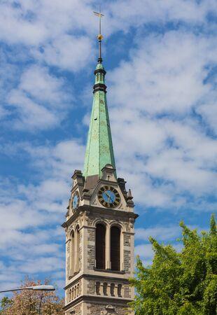 Tower of the Johanneskirche church in the city of Zurich, Switzerland.