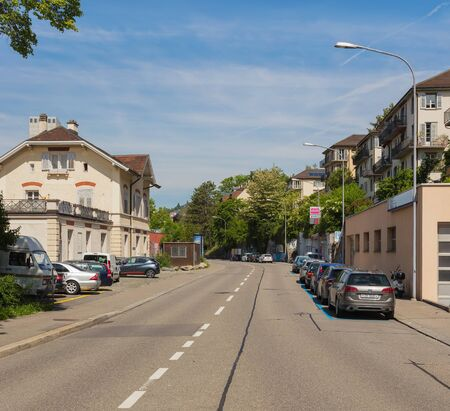 Zurich, Switzerland - May 27, 2019: view along Wasserwerkstrasse street in the city of Zurich. Zurich is the largest city in Switzerland and the capital of the Swiss canton of Zurich. Sajtókép