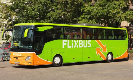 Zurich, Switzerland - May 27, 2019: a Flixbus coach at a bus station in the city of Zurich. The Flixbus is a German brand offering intercity coach services in various European countries and in the USA. Editorial