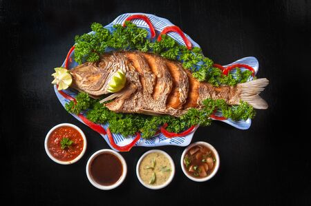 fish plate: Fish plate with four sauce types