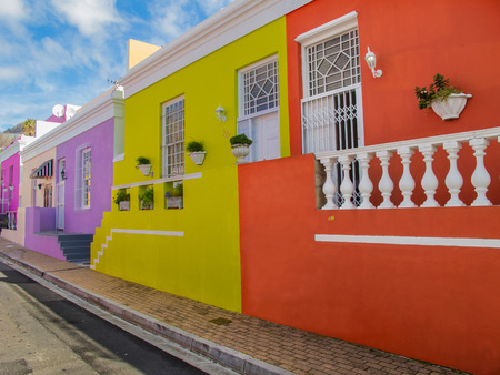bo: Perspective view of Bo Kaap District, Cape Town, South Africa