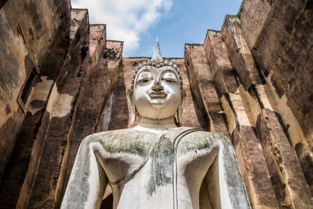 chum: Close-up of Buddha Statue in Wat Sri Chum Temple, Sukhothai Historical Park, Thailand Stock Photo