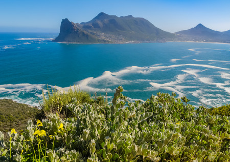 chapmans: Panoramic view of Hout Bay from Chapmans Peak drive, South Africa