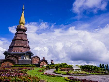 Stupa and garden on the top of Doi Inthanon, Thailand photo