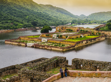 fort: Amber fort gardens on Maota Lake, Jaipur, India