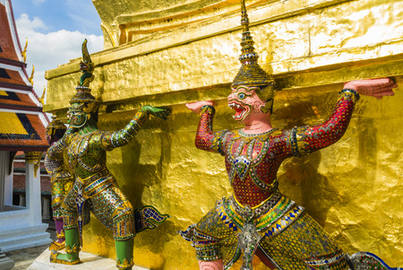 guardians: Perspective view of demon guardians supporting Wat Arun Temple, Bangkok, Thailand