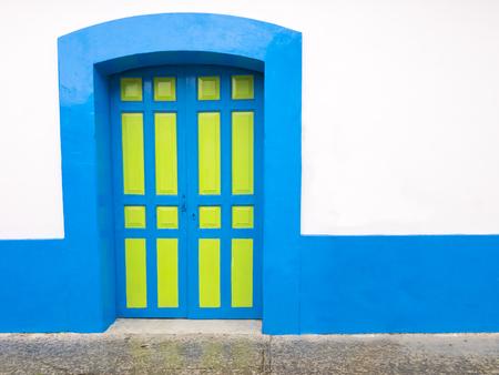 cristobal: Colorful colonial door in San Cristobal de las Casas, Chiapas, Mexico