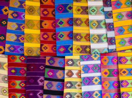 artisanal: Ethnic colorful runner tablecloths with geometric shapes