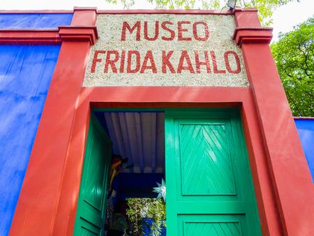 Entrance of Frida Kahlo Museum (also known as the Blue House - La Casa Azul), Coyoacán borough, Mexico City Editorial