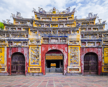 Impressive gate in the old citadel of Hue, the imperial forbidden purple city Editorial