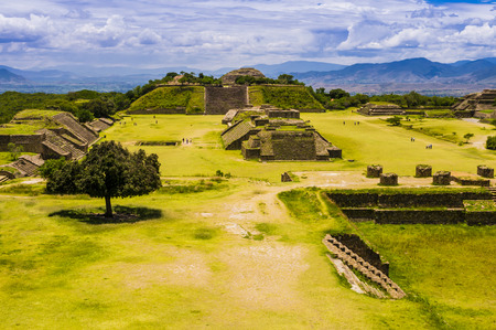 Panoramic view of Monte Alban, the ancient city of Zapotecs, Oaxaca, Mexico Stock Photo