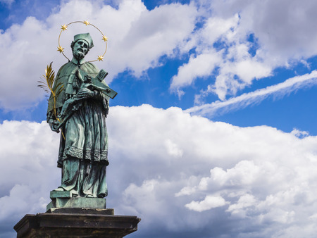 Bronze statue of Saint John of Nepomuk, Charles Bridge, Prague, Czech Republic