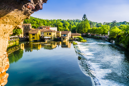 Amazing view of Borghetto historical center, Valeggio sul Mincio, Italy