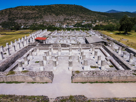View of the ruins of the Burnt Palace in Tula archaeological site, Mexico Stock fotó