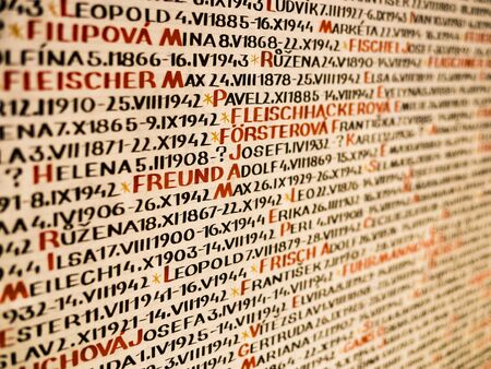 Detail of Pinkas Synagogue wall, covered with the names of the victims of the holocaust, Prague, Czech Republic