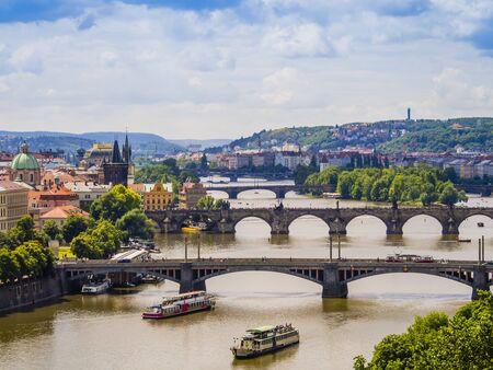 Panoramic view of Prague and its bridges through Vltava river, Czech Republic
