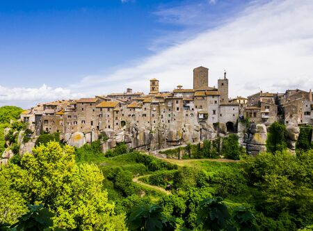 Panoramic view of Vitorchiano, one of the most beautiful medieval village in Tuscia region, central Italy