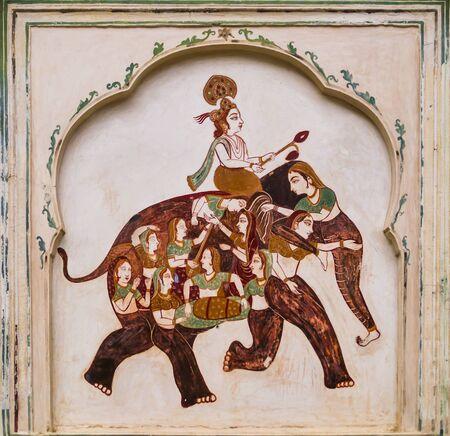 Typical fresco with elephant and female figures, Galta Ji Mandir temple, Jaipur, Rajasthan, India Standard-Bild - 133166952