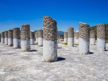Perspective view of the ruins of the Burnt Palace in Tula archaeological site, Mexico