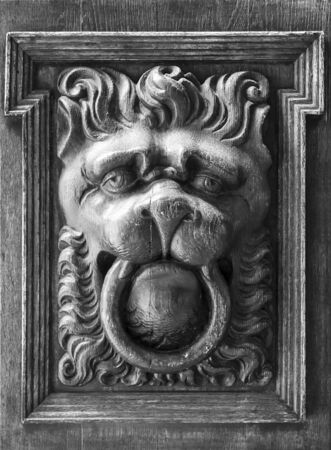 Close-up of traditional lion head shaped door knocker 写真素材