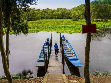 Tourist boats moored on lagoon pier  to explore Tra Su indigo forest, An Giang, Mekong delta, Vietnam