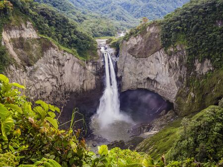 Majestic San Rafael waterfalls in the lush rainforest of Ecuadorian Amazon