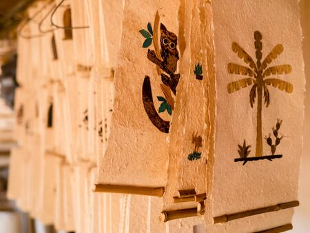 Display of Antemoro paper sheets, a flower embedded paper traditionally used to record secret knowledge, Ambalavao, Madagascar