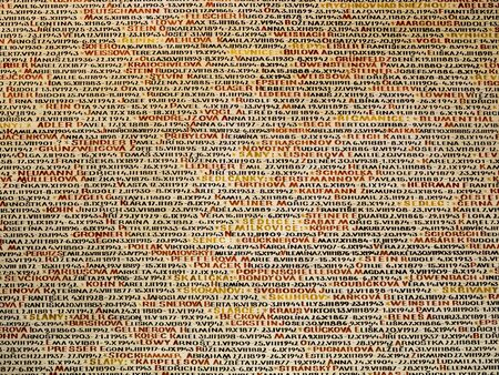 Emotional Pinkas Synagogue wall, covered with the names of the victims of the holocaust, Prague, Czech Republic