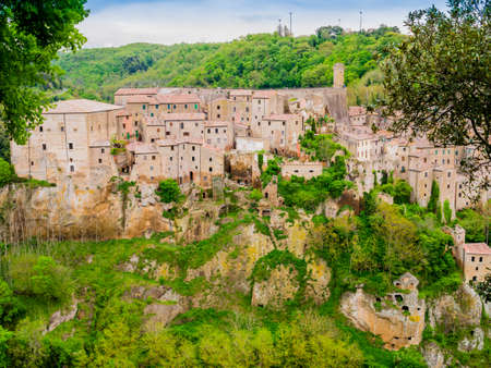Picturesque view of Sorano, tuff mediaeval village in Tuscany, Italy Reklamní fotografie