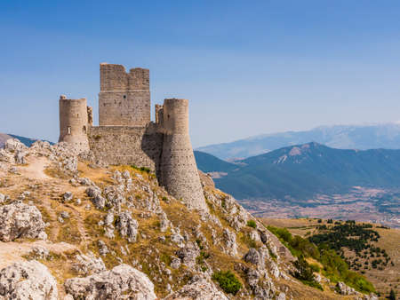 Evocative view of Rocca Calascio ruins, ancient medieval fortress in Gran Sasso National Park, Abruzzo region, Italy Reklamní fotografie